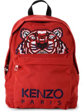 Kenzo Zaino Kenzo In Tessuto Rosso Con Tigre