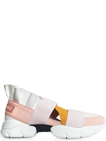 Emilio Pucci Light Pink White And Orange Nylon Ruffle Sneakers