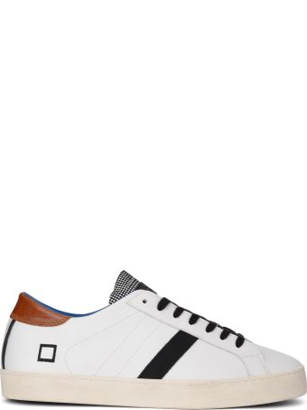 D.A.T.E. Hill Low Pop White Leather Sneaker With Checked Flap