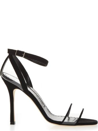 Manolo Blahnik Black Leather & Pvc Sandals