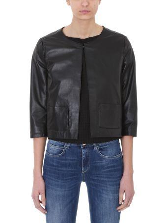 L'Autre Chose Cropped Black Leather Jacket