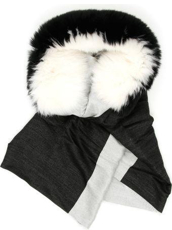 Valentino Bicolor Scarf With Fur
