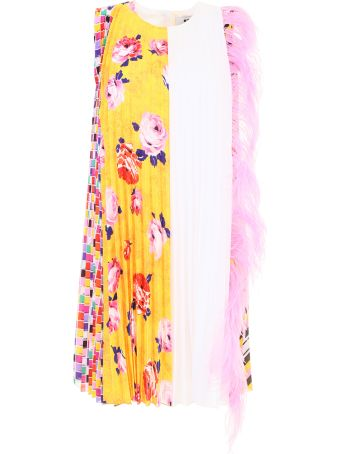 Multicolor Dress With Feathers