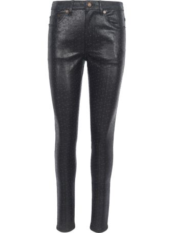 Saint Laurent Skinny Denim Ostrich Print