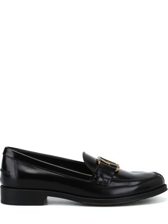 Tod's Double T Oval Horsebit Black Loafers
