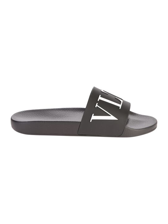 Valentino Garavani Black Branded Slide Sandals