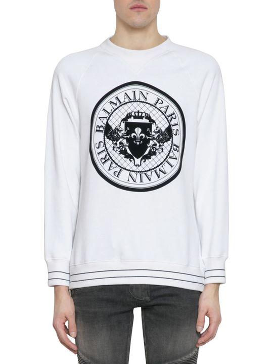 Balmain White Cotton Flocked Logo Sweatshirt