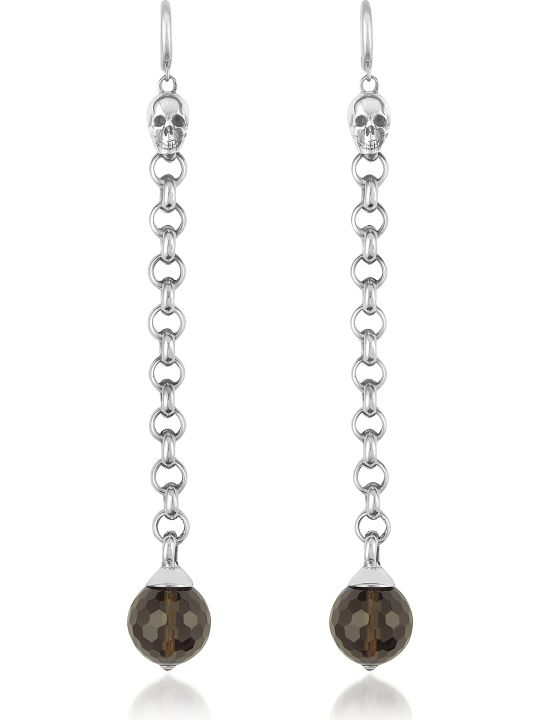 Ugo Cacciatori  Smoky Quartz Orb & Skull Sterling Earrings