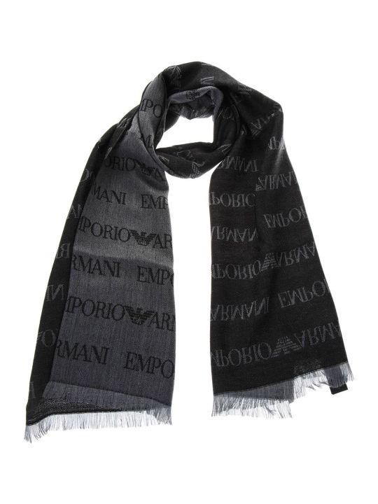 Emporio Armani Grey Wool Scarf With Logo