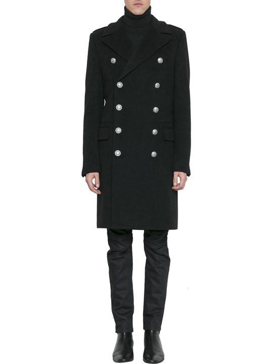 Balmain Black Cashmere Double-breasted Coat