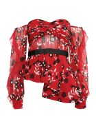 self-portrait Floral Print Peplum Top - RED|Rosso