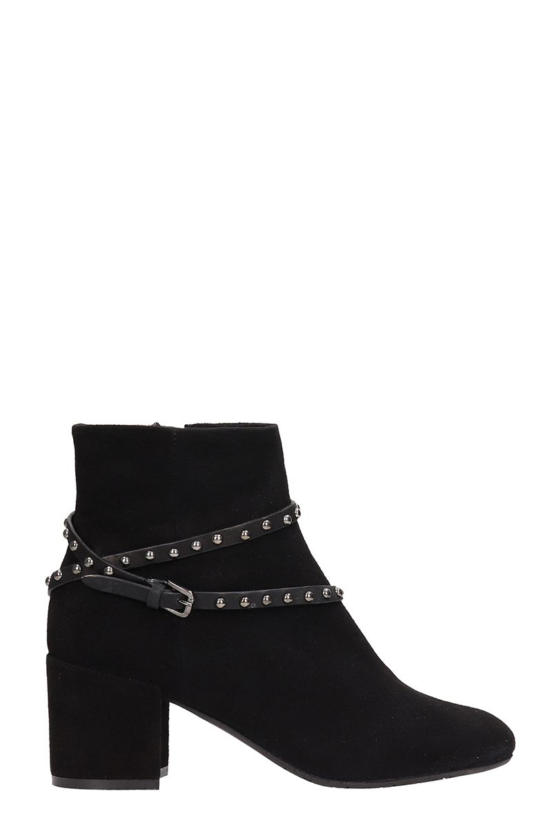 JULIE DEE Black Suede Ankle Boots
