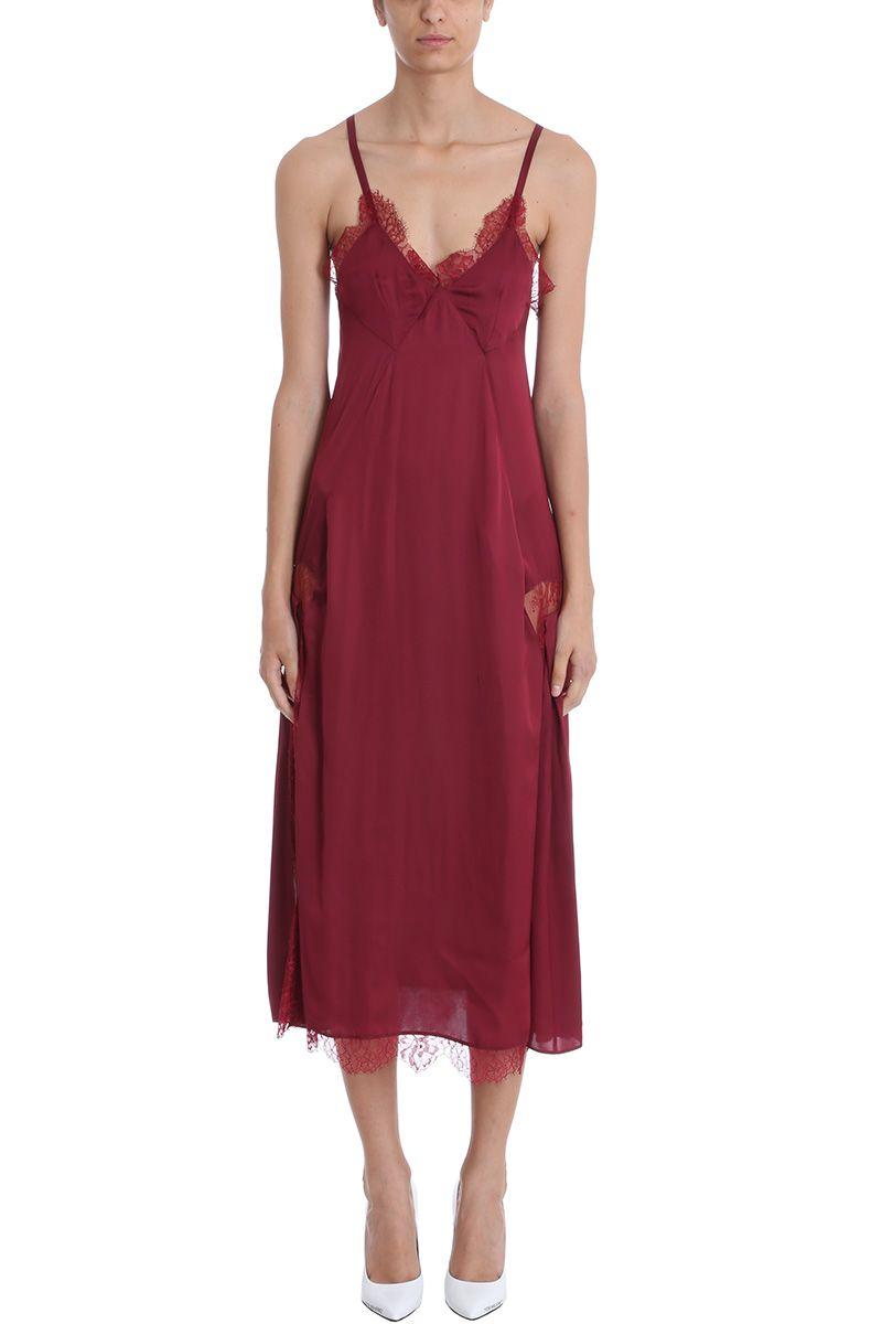 Elsa Lace-Paneled Satin Midi Dress in Burgundy