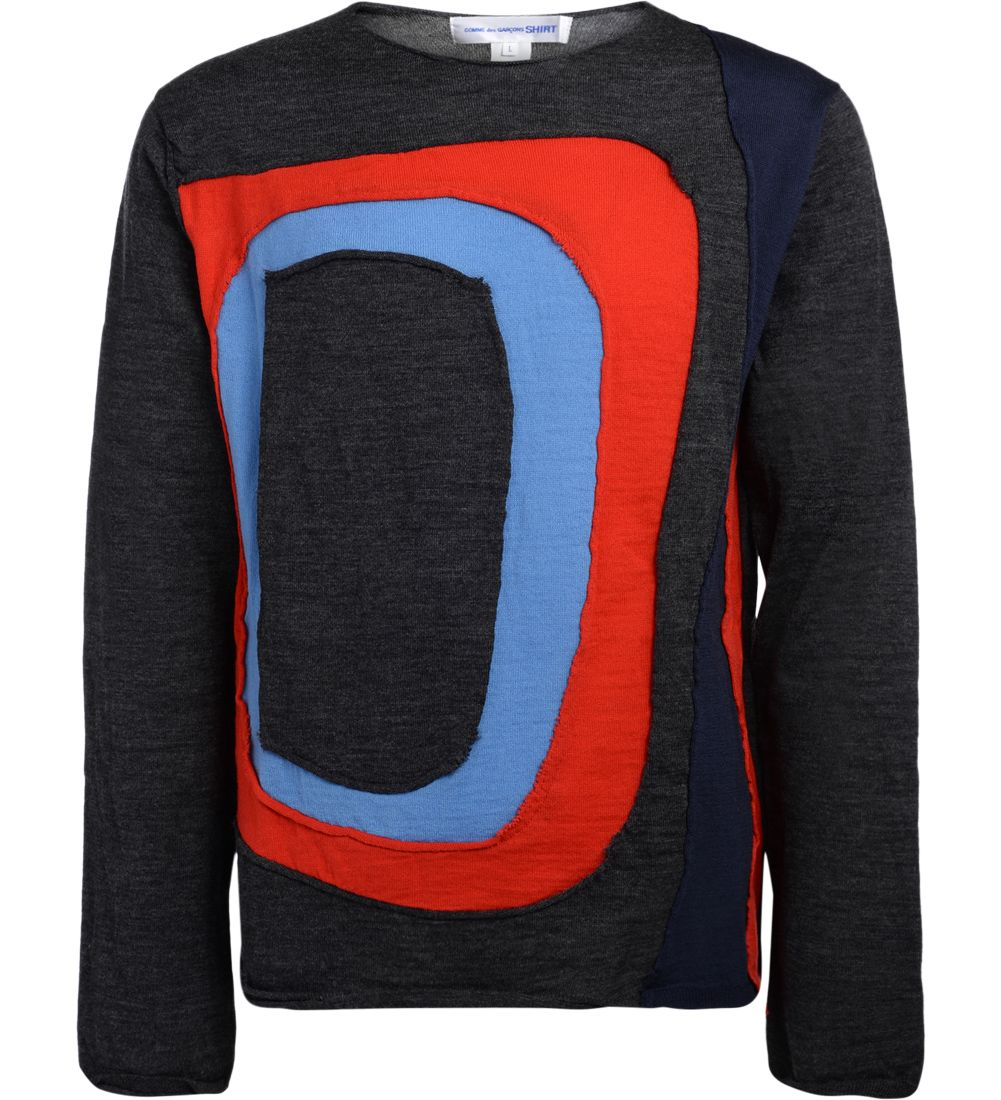 COMME DES GARÇONS SHIRT COMME DES GARÇONS SHIRT GREY SWEATER WITH MULTICOLOR INSERTS
