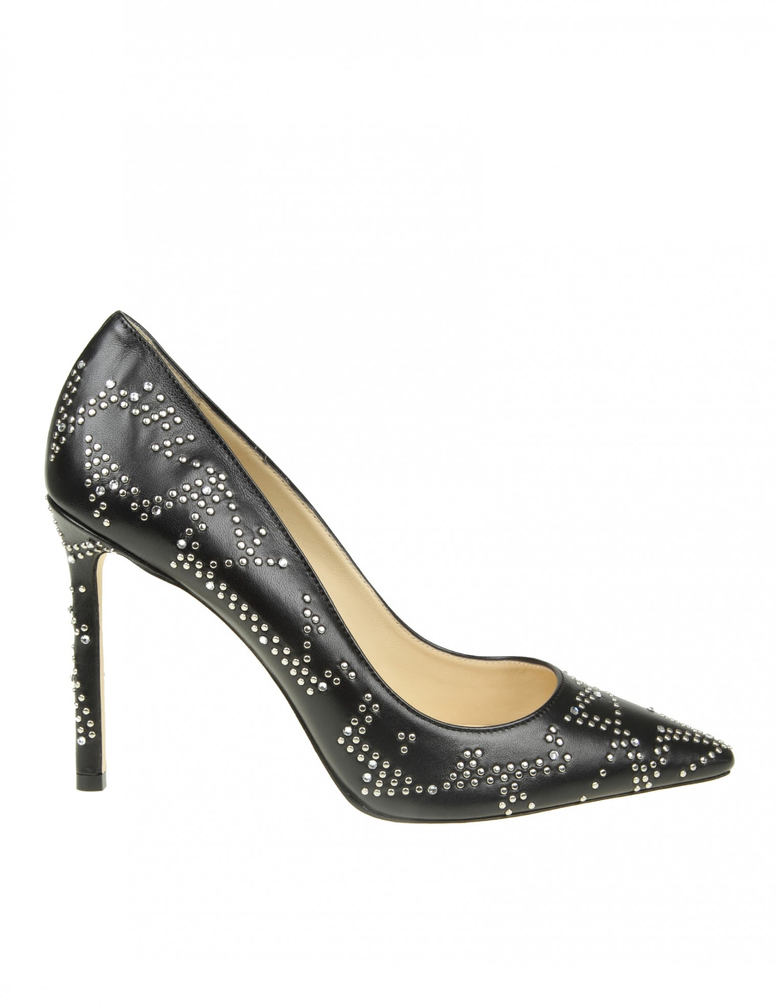 JIMMY CHOO ROMY 100 DECOLLETE IN BLACK LEATHER WITH STUDS
