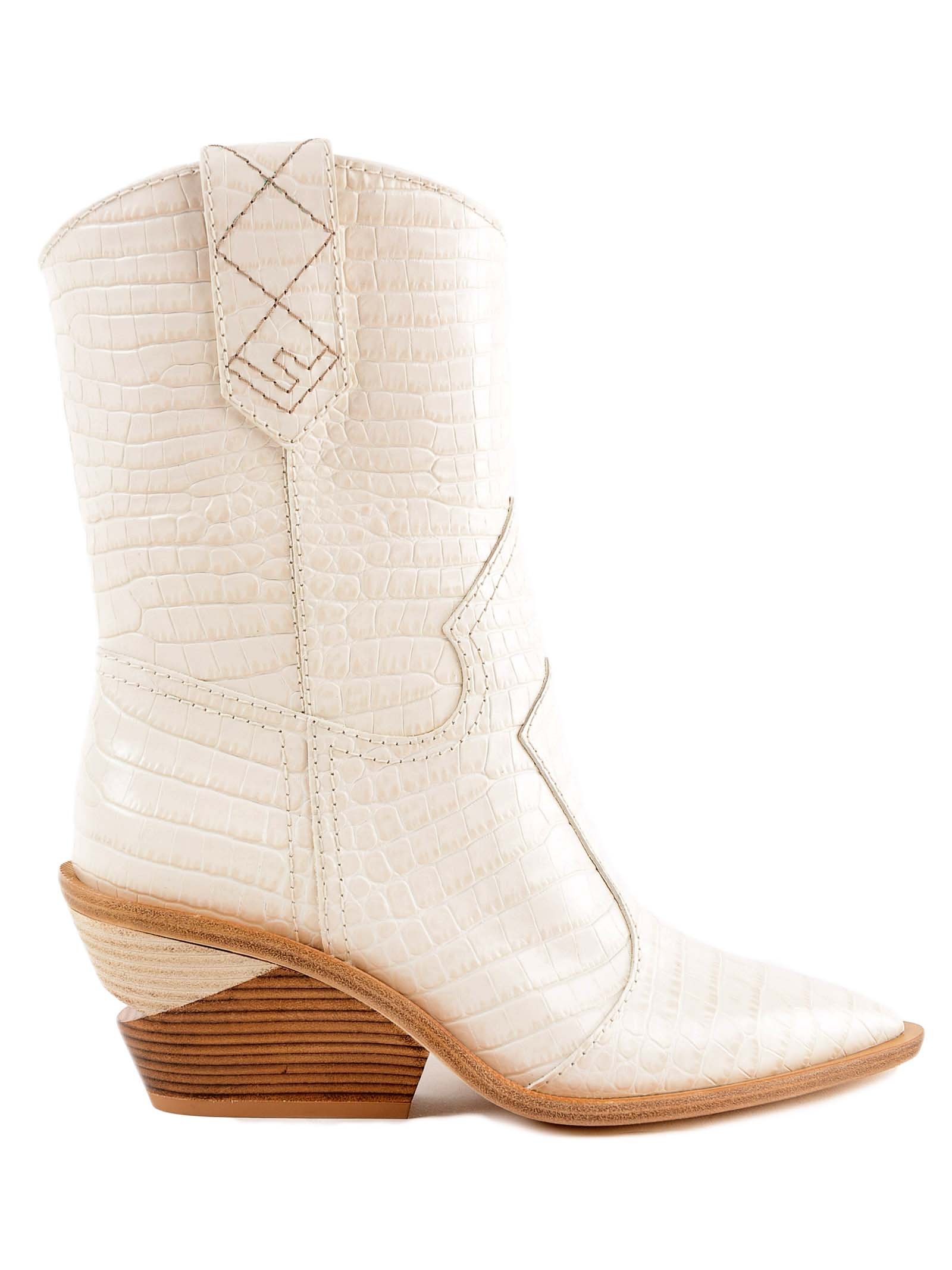 Fendi Crocodile Effect Ankle Boots