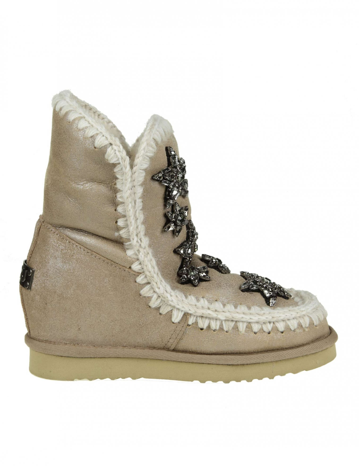 "Sneakers ""Inner Wedge"" Beige Leather With Decoration Crystal Appli, Stone"