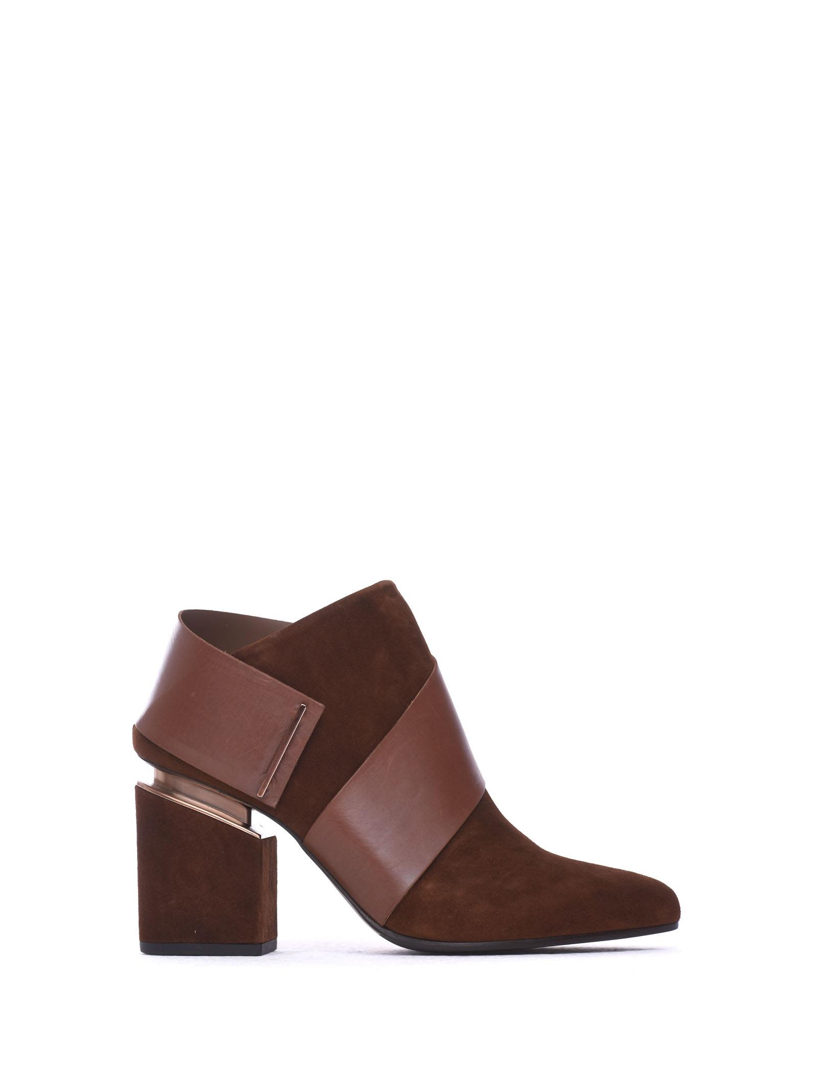 VIC MATIE Ankle Boots Cognac-Coloured Suede Strap in Marrone