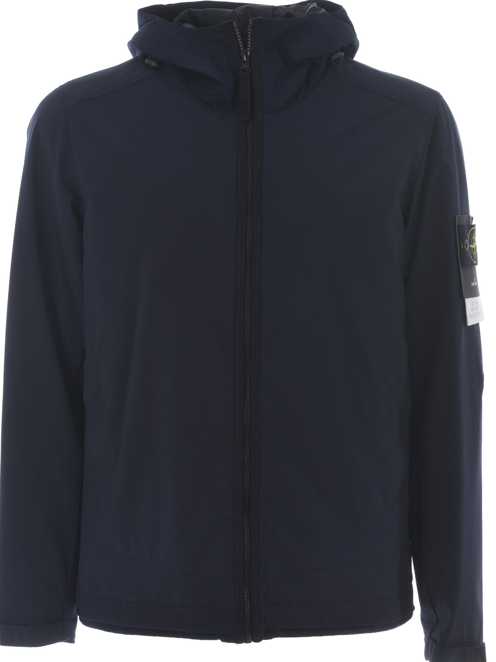 stone island stone island logo patch windbreaker blu scuro men 39 s raincoats italist. Black Bedroom Furniture Sets. Home Design Ideas