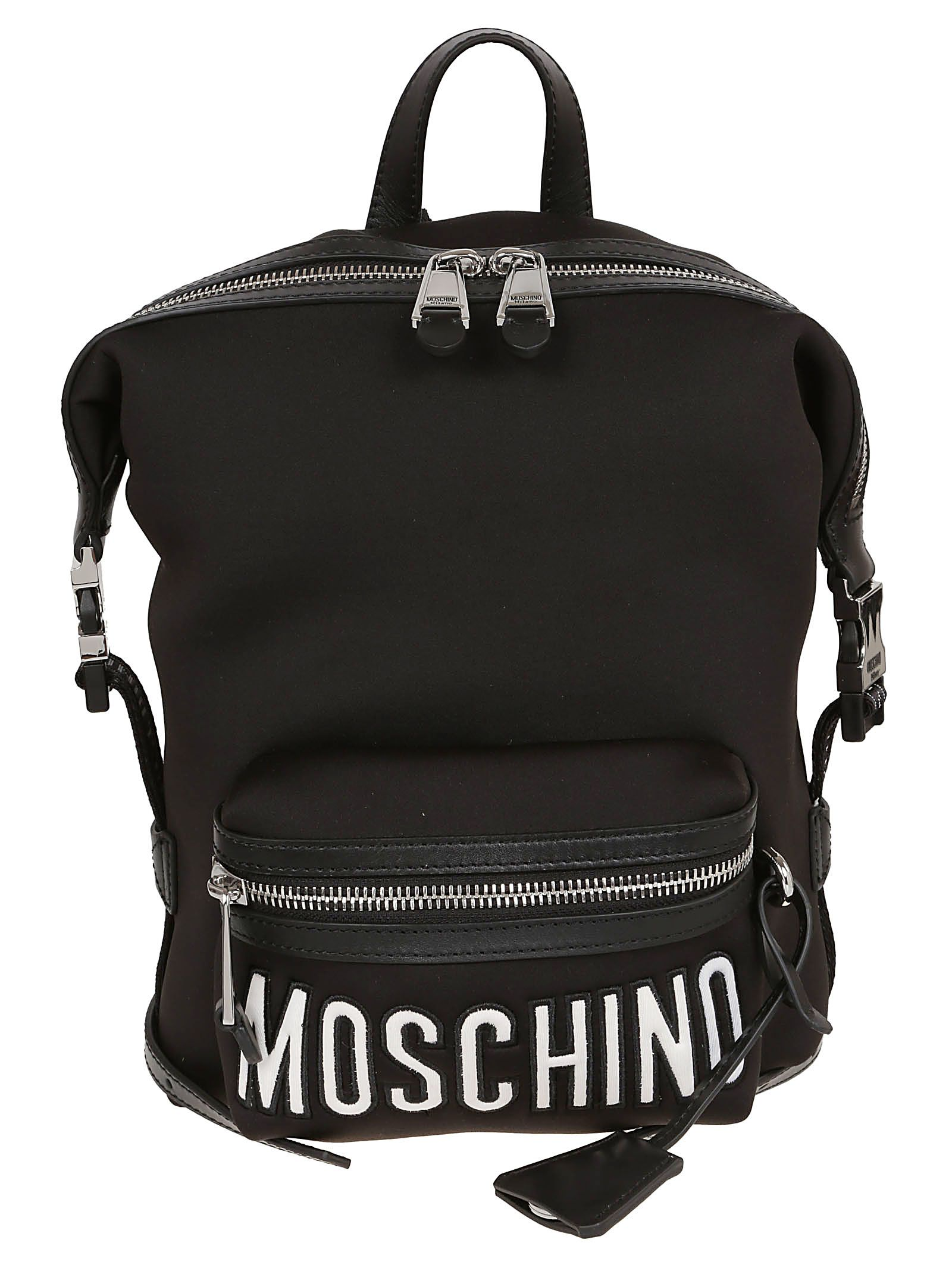 Backpack In Neoprene With Black Leather Inserts, Bnero