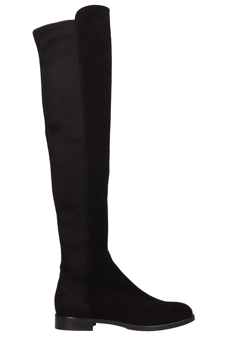 JULIE DEE Black Suede Leather Boots
