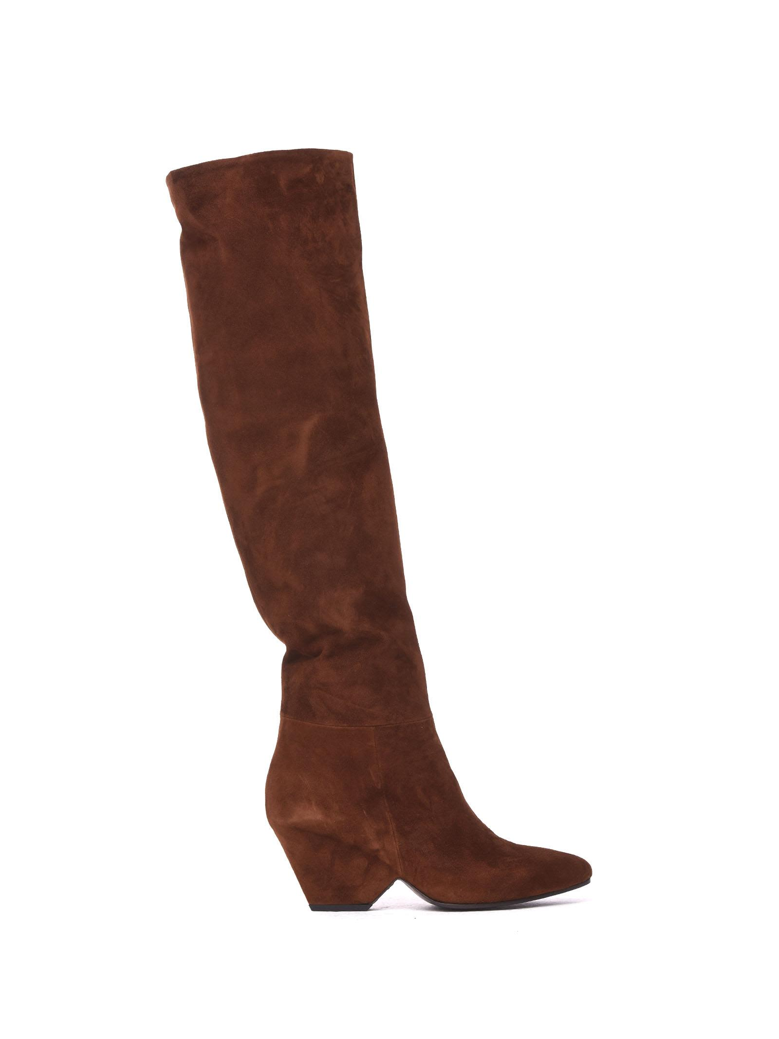 VIC MATIE Leather Stove Pipe Boots With Shell-Shaped Heel in Tobacco