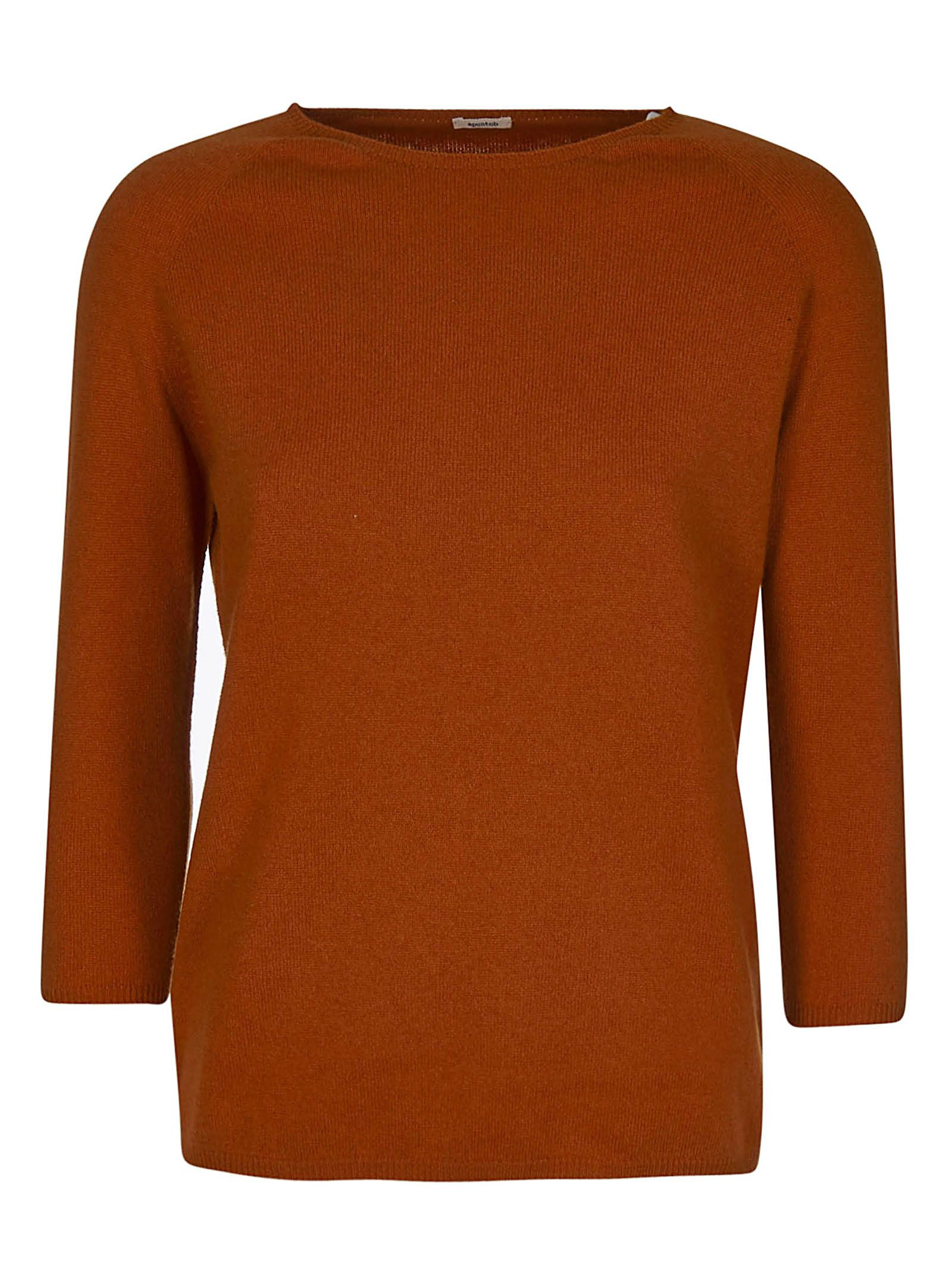 A PUNTO B A.B Knitted Slim Sweater in Orange