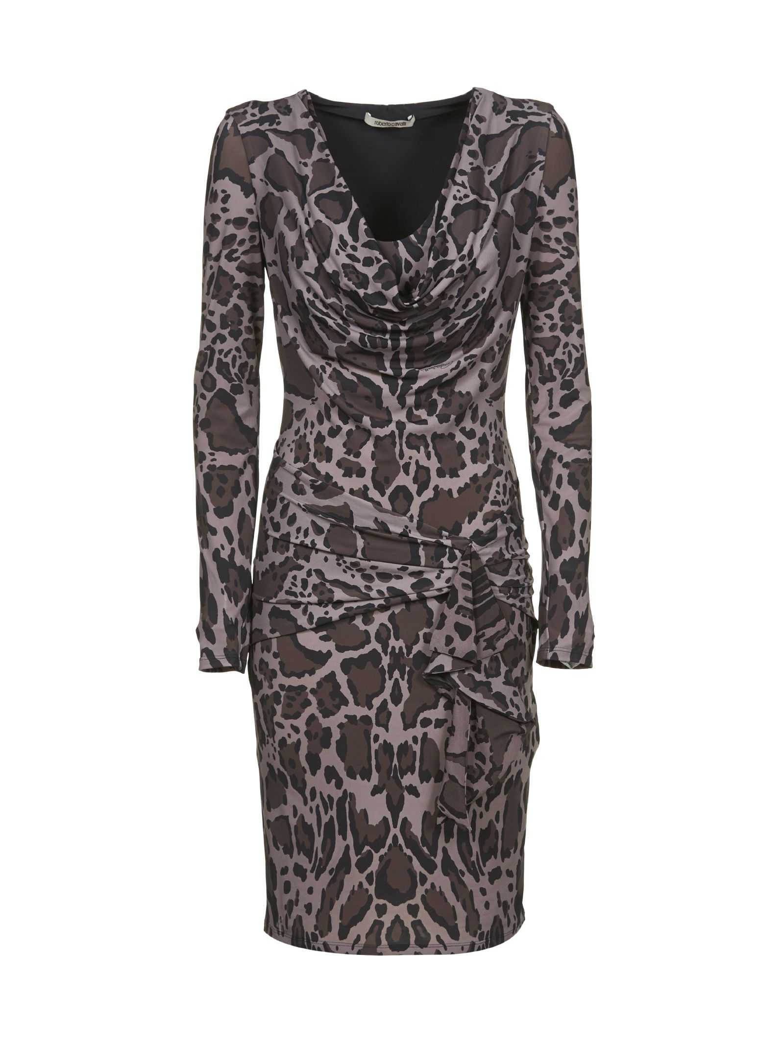 Roberto Cavalli Ruched Leopard Dress
