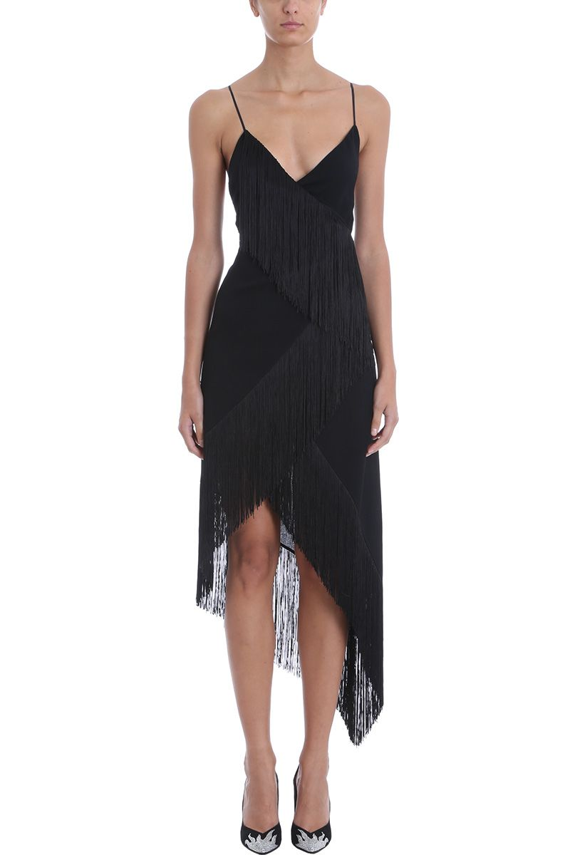 Givenchy Black Asymmetric Fringe Embellished Dress 10705025