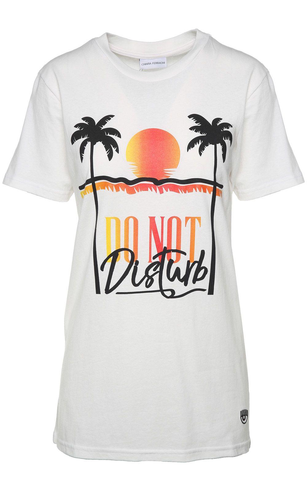 Do Not Disturb cotton-jersey t-shirt Chiara Ferragni Clean And Classic GWBfJ76Bho