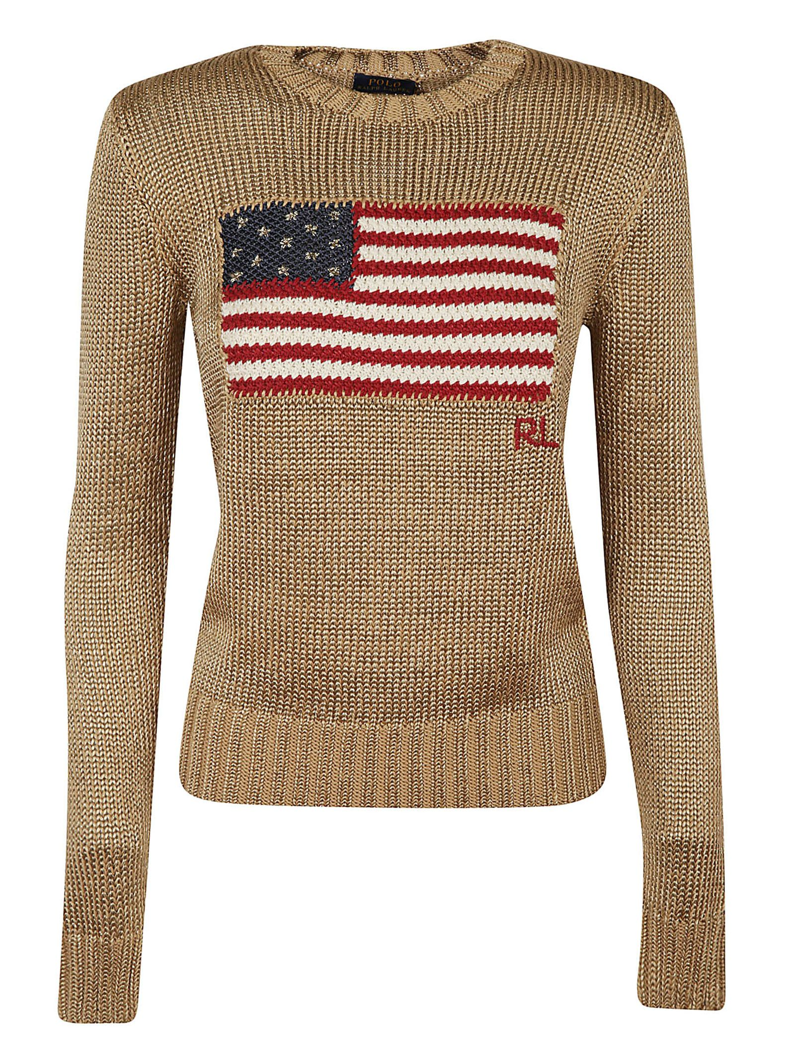 Metallic American Flag Knit Sweater in Gold