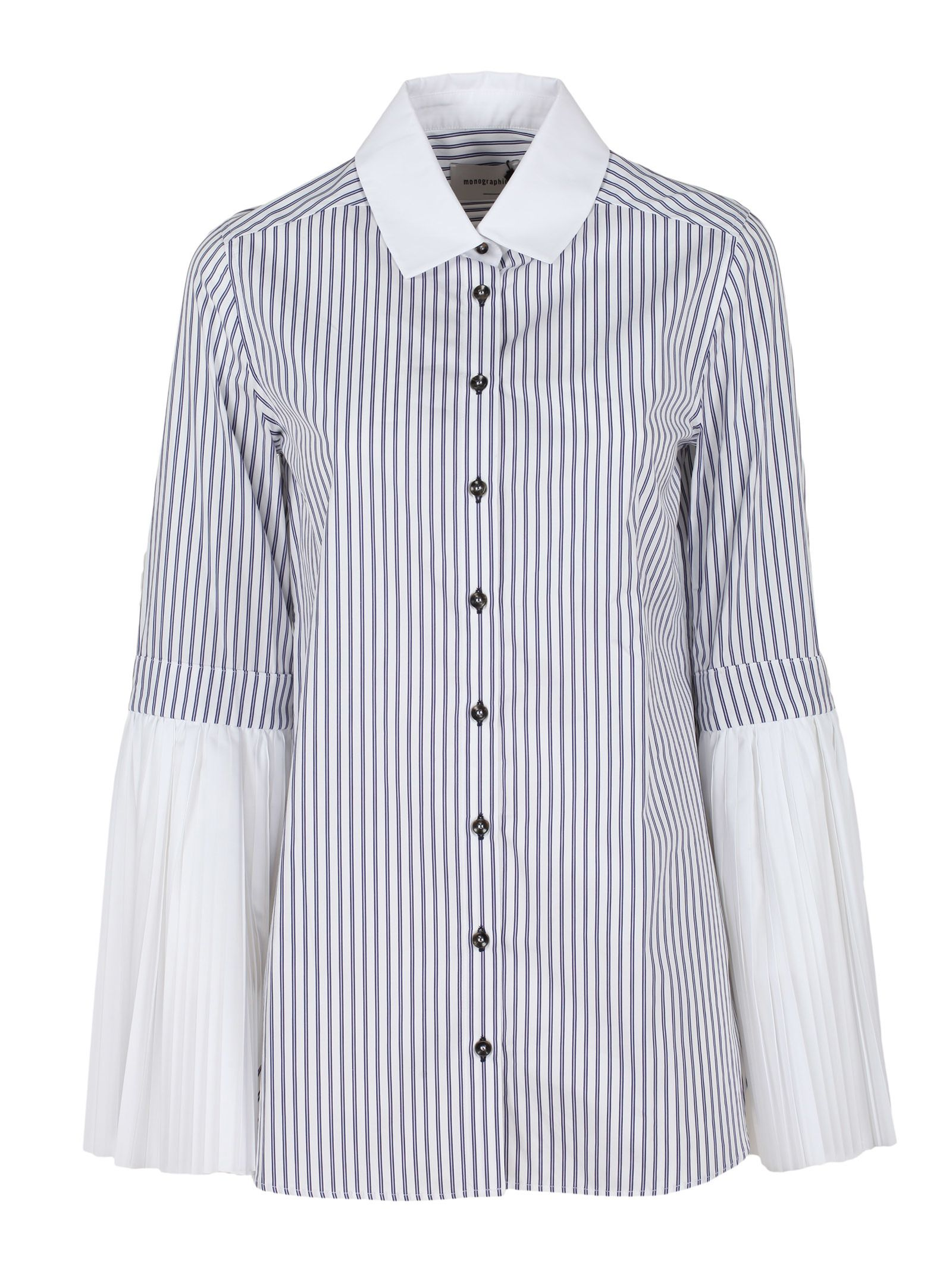MONOGRAPHIE Pleated Shirt in Blue & White Stripes