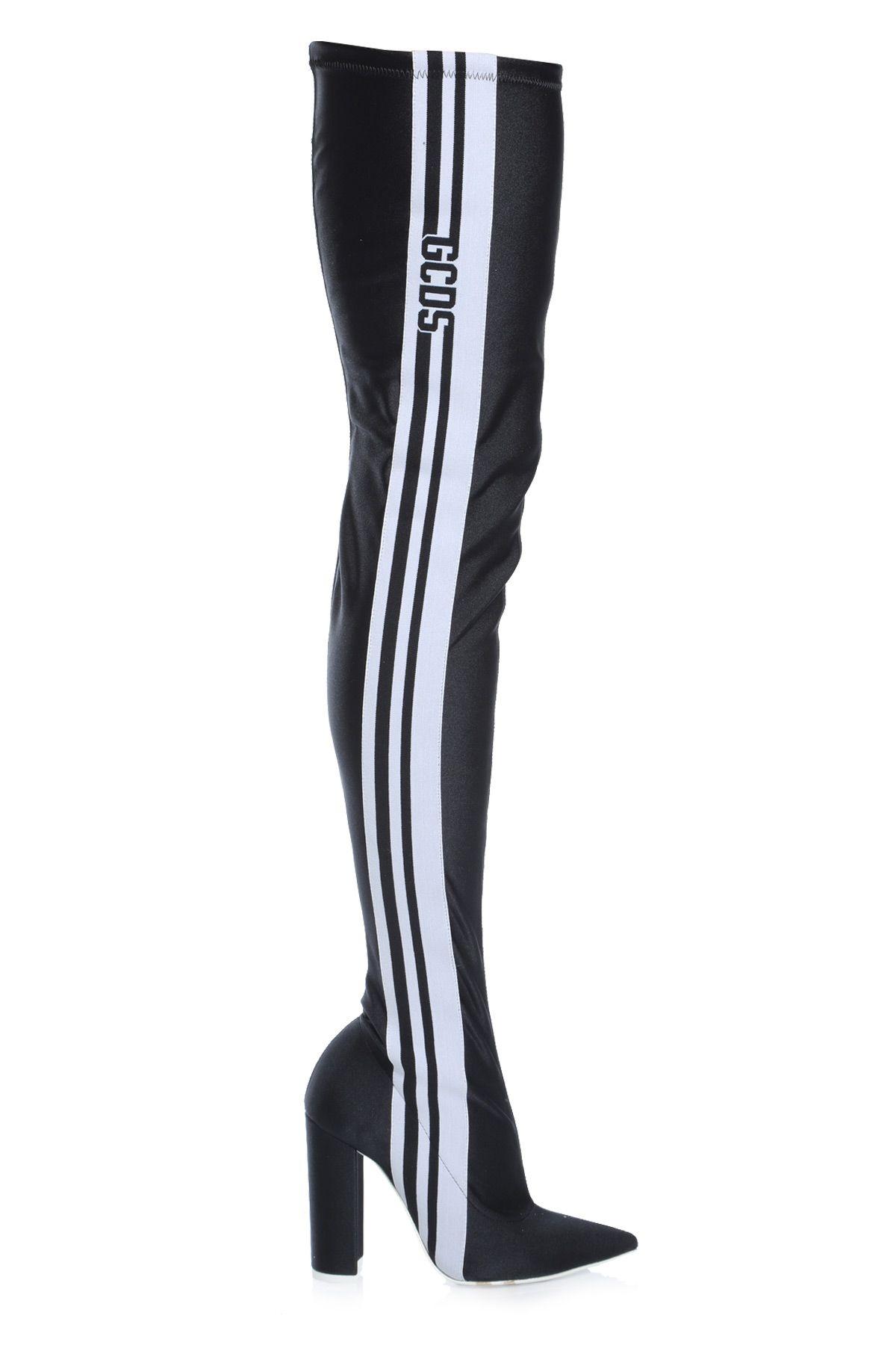 Gcds 110Mm Stripe Lycra Thigh High Boots In Black