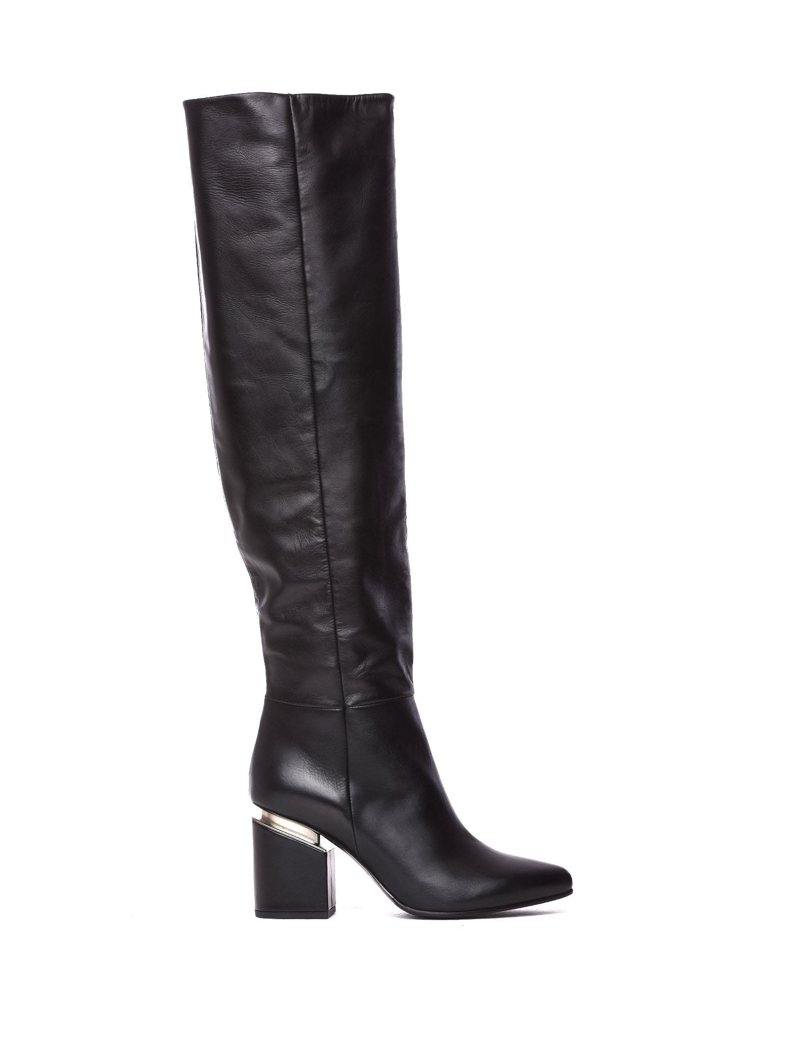 VIC MATIE Black Leather Stove Pipe Boots With Suspended Heel in Nero