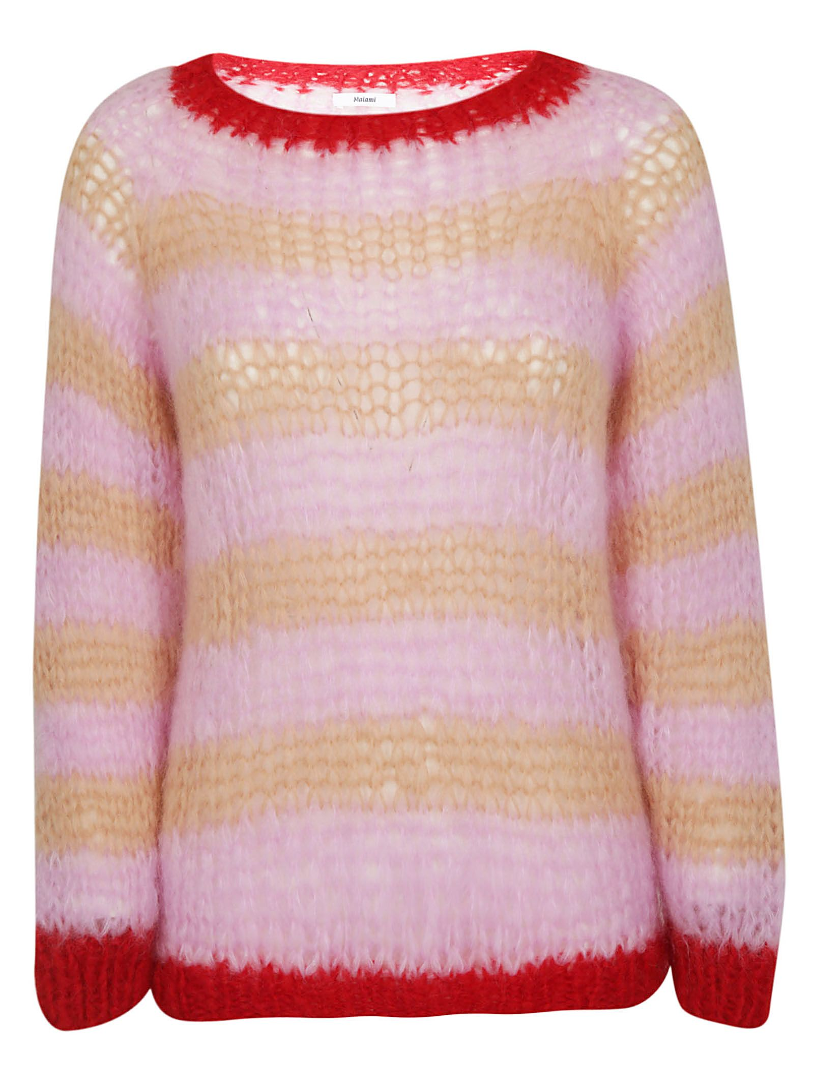 MAIAMI Maiami Knitted Sweater in Rosso/Rosa/Caramel