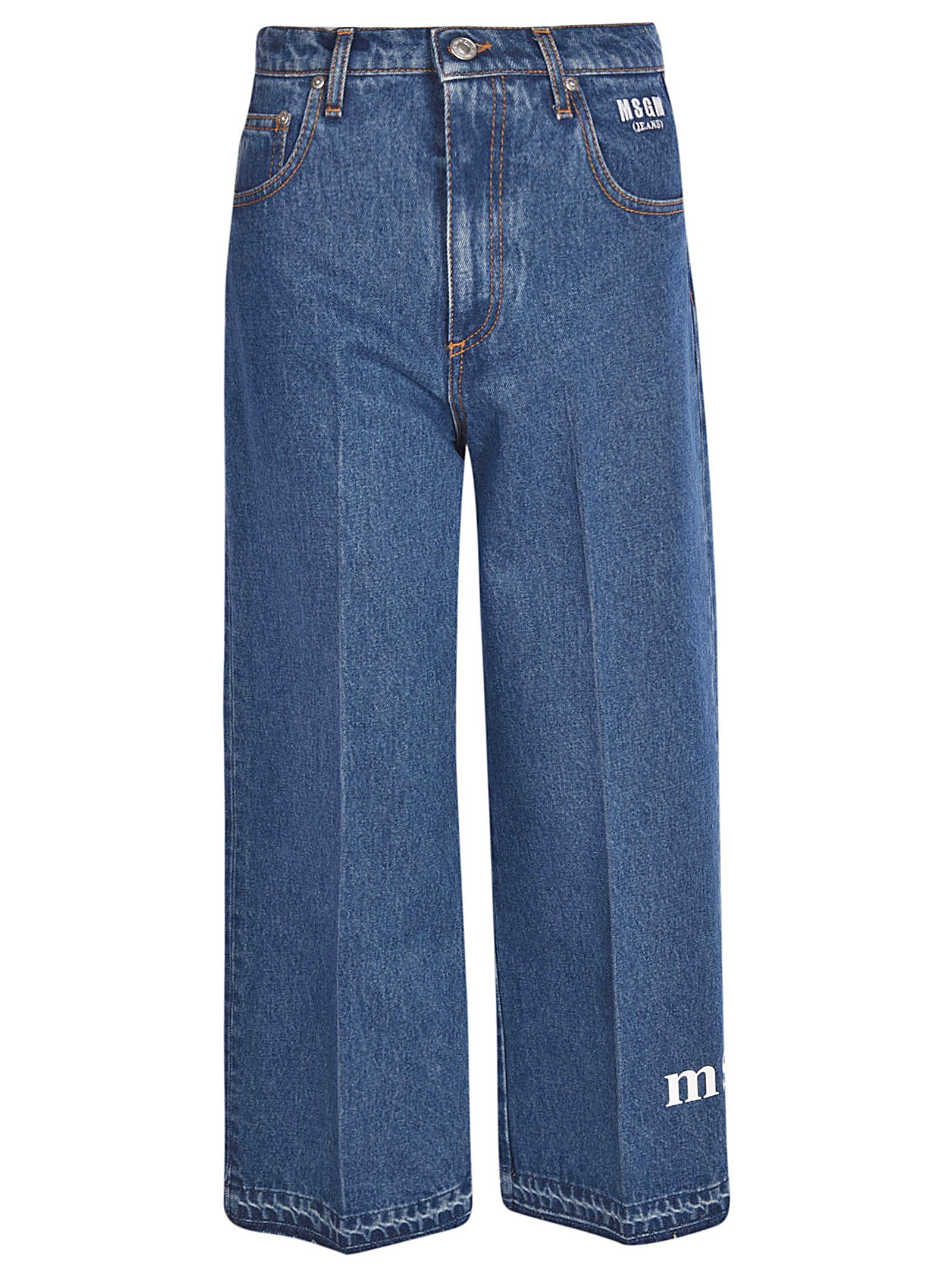 msgm -  Cropped Wide Leg Jeans