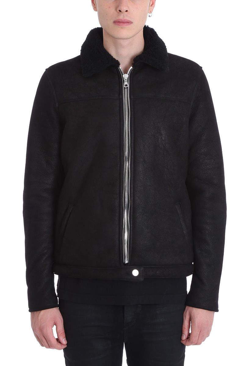 Rta BLACK SHEARLING LEATHER JACKET
