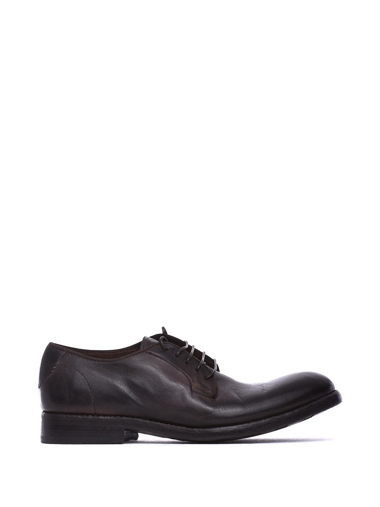 BARRACUDA Lace-Up Shoes In Black Vintage Effect Leather in Nero