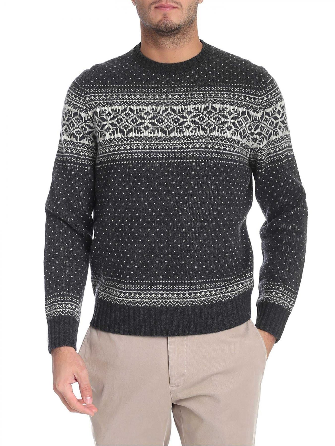 BROOKS BROTHERS Round Neck Lamb'S Wool in Gray