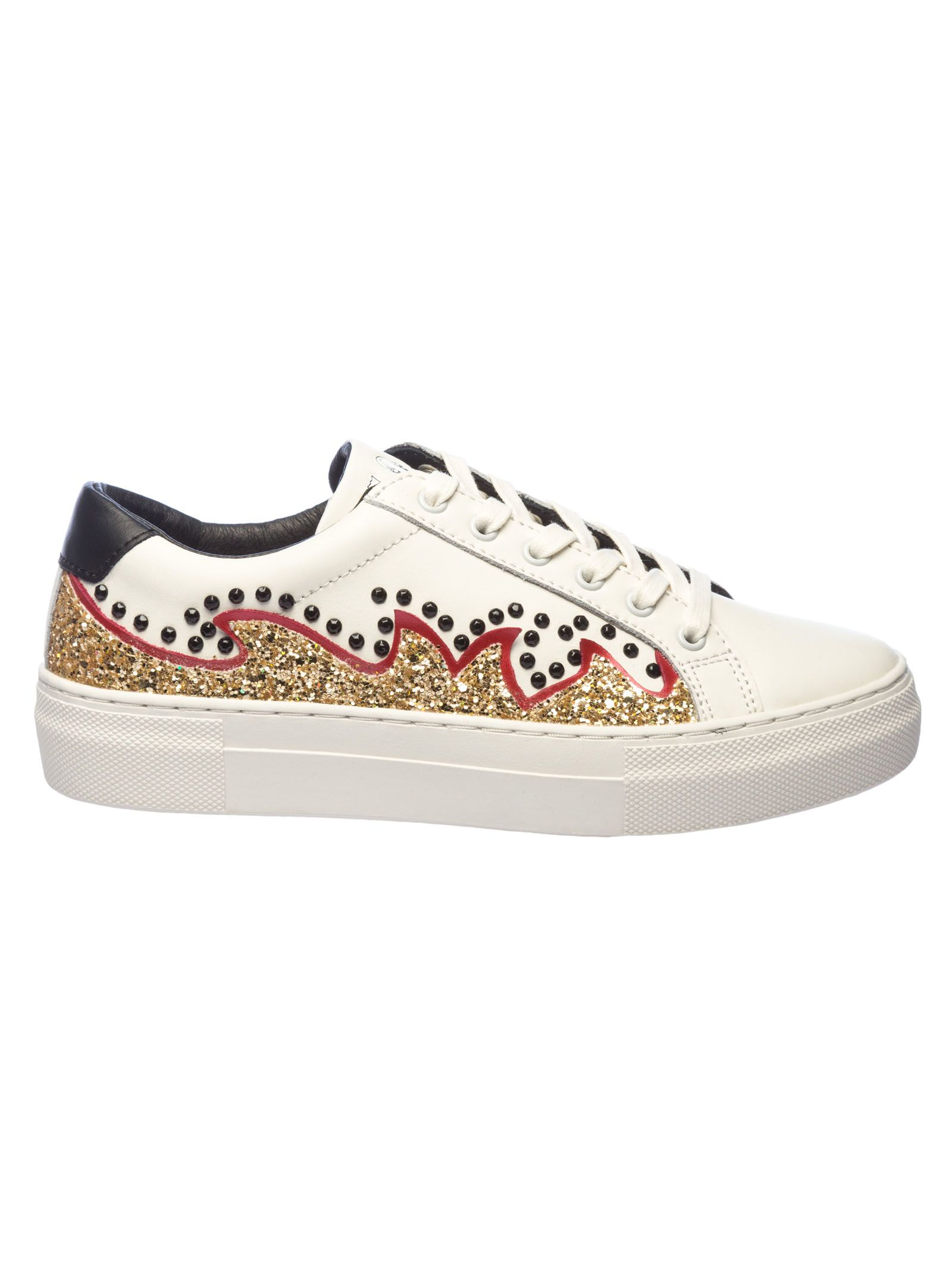 MOA COLLECTION Moa Usa Glittery And Crystal Embellished Sneakers in White
