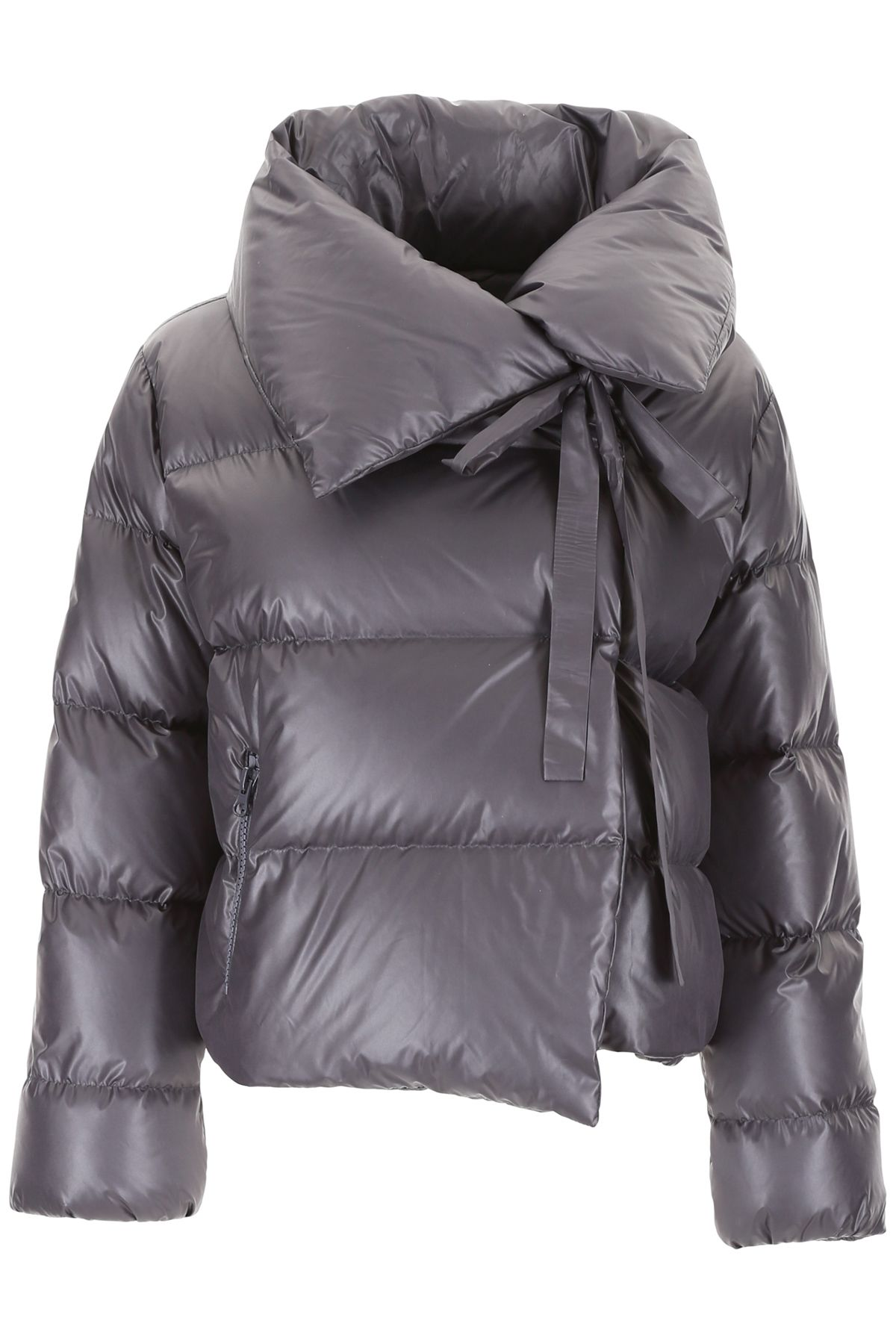 BACON CLOTHING Puffer Jacket With Bow in Grey