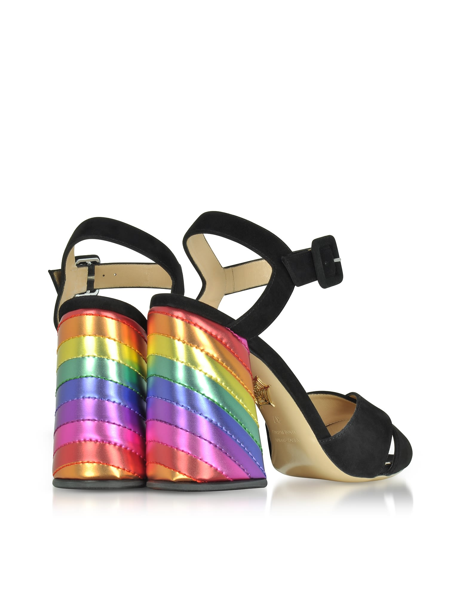 Charlotte Olympia Shoes, Emma Suede and Rainbow Patent Leather High Heel Sandals