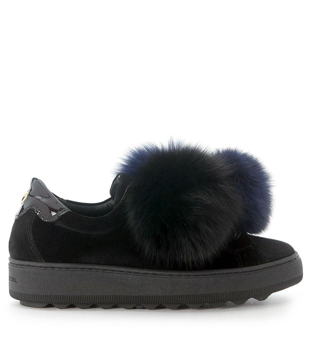 Sneaker Velours Fourrure De Renard Pompom Modèle Bleu Noir Philippe lDF7GunVdA