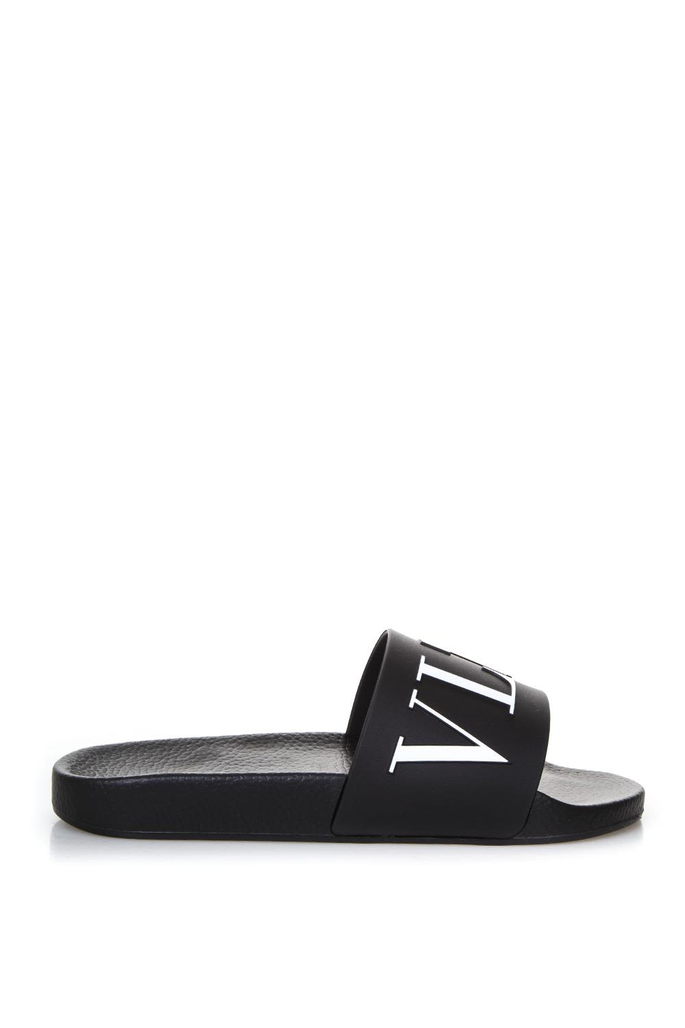 VALENTINO WHITE RUBBER SANDALS WITH LOGO