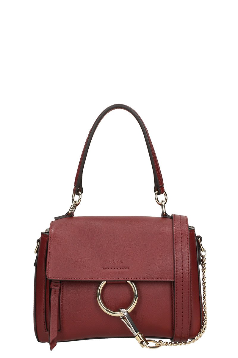 CHLOÉ FAYE DAY SMALL BURGUNDY LEATHER SHOULDER BAG