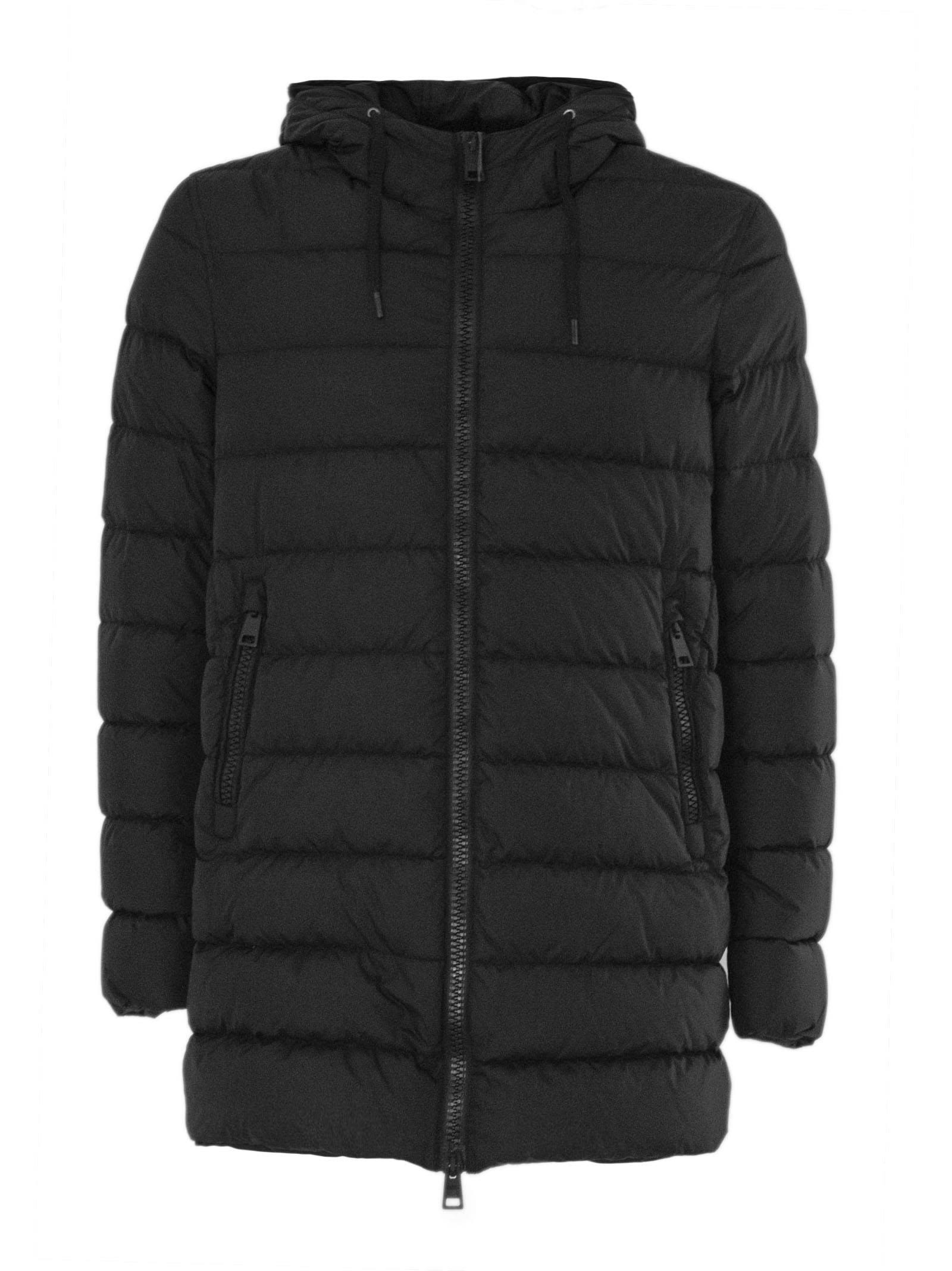 Black Feather Down Hooded Padded Coat.