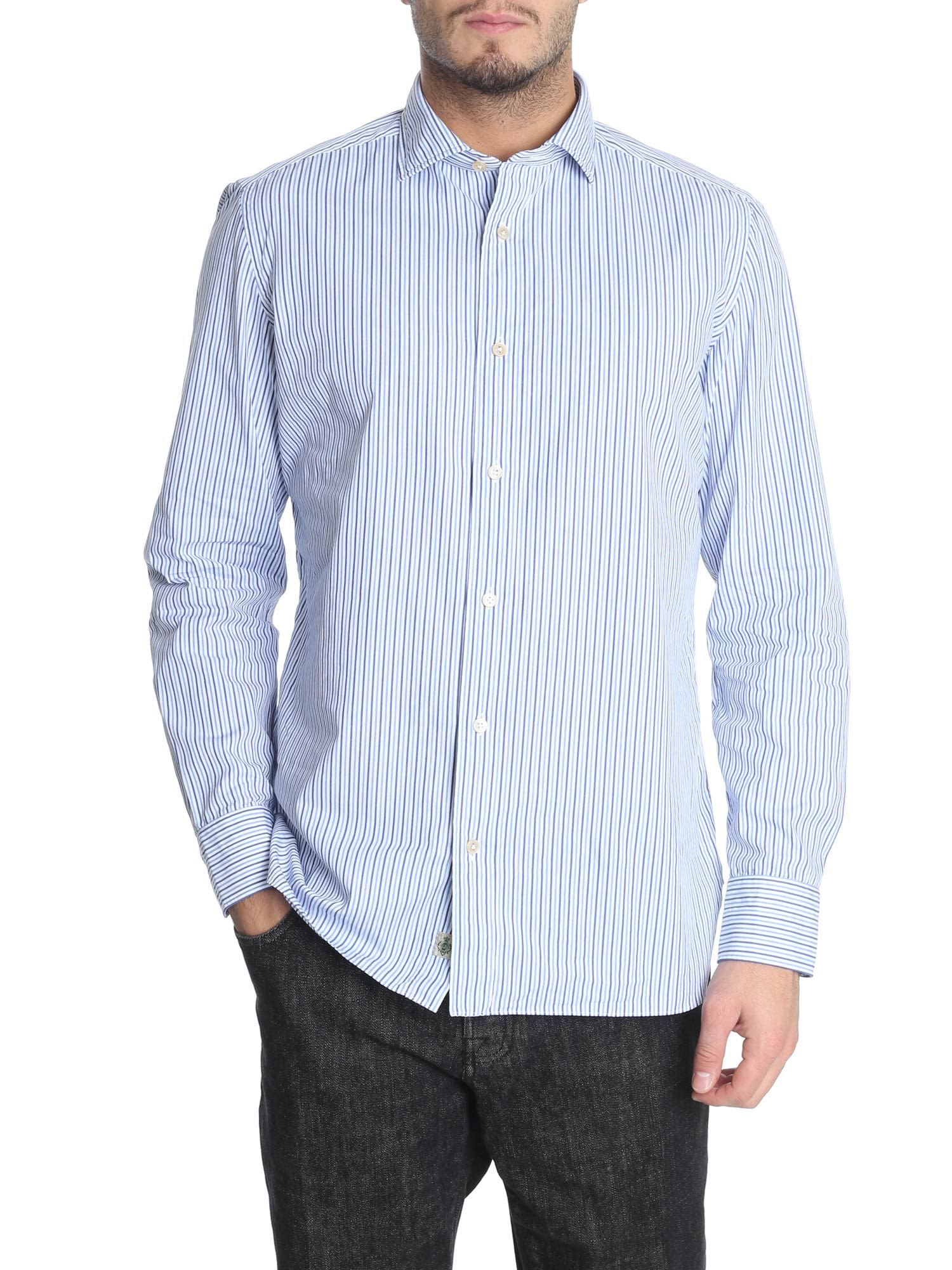 LUIGI BORRELLI Striped Print Shirt in White/Blue