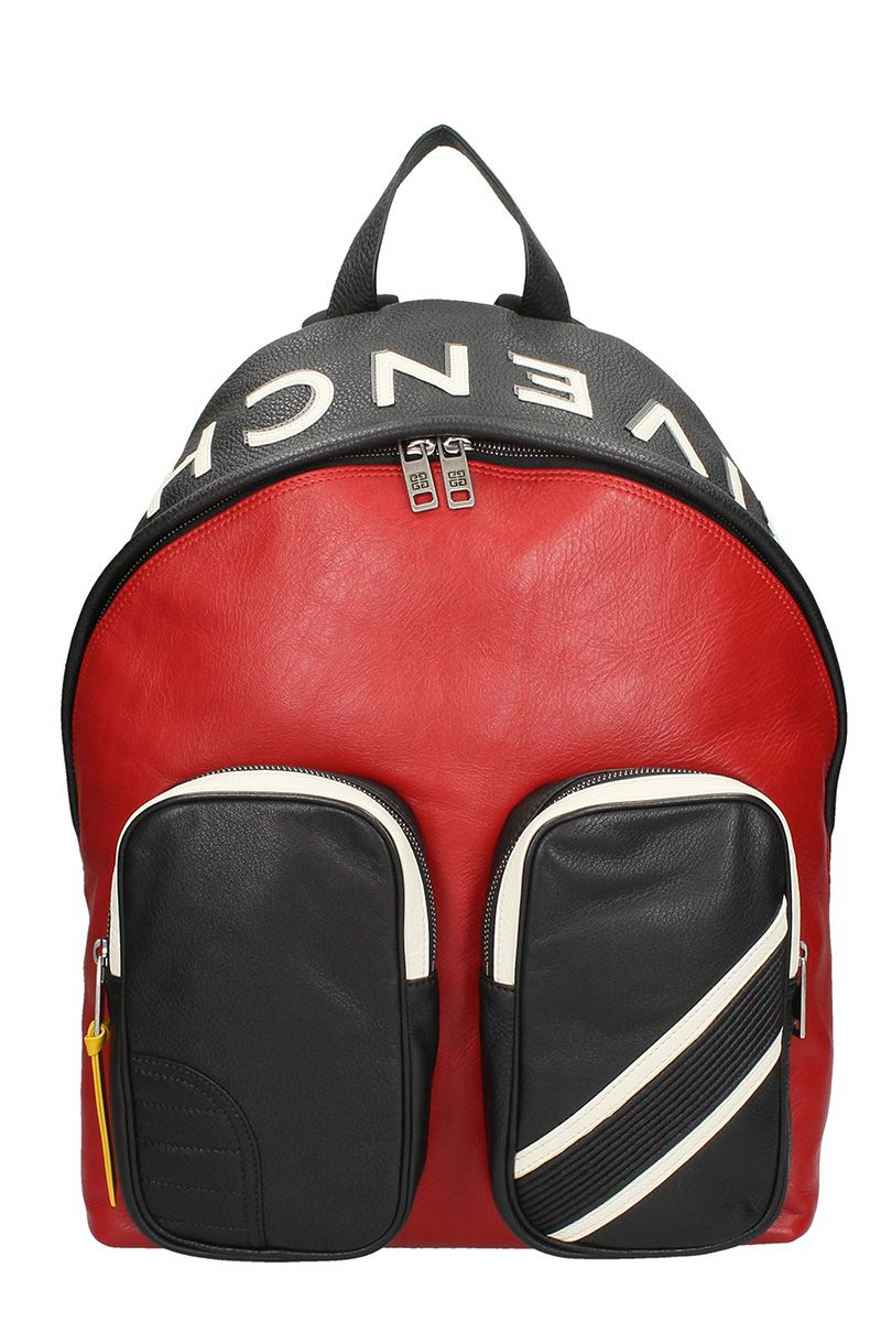 GIVENCHY RED AND WHITE BLACK LEATHER BACKPACK