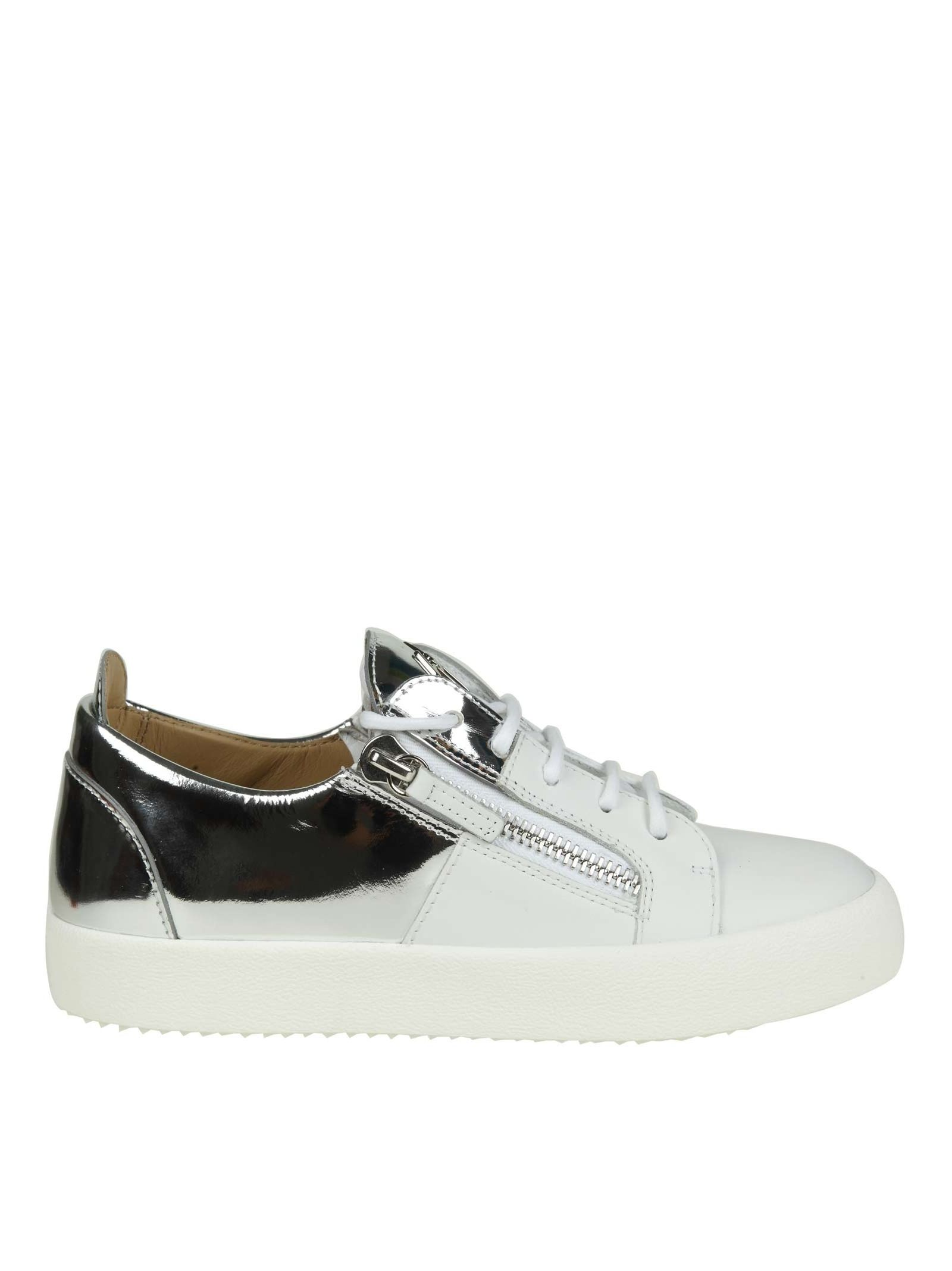 """Giuseppe Zanotti """"MAY"""" SNEAKERS IN WHITE LEATHER WITH SILVER SHINY LEATHER INSERT"""