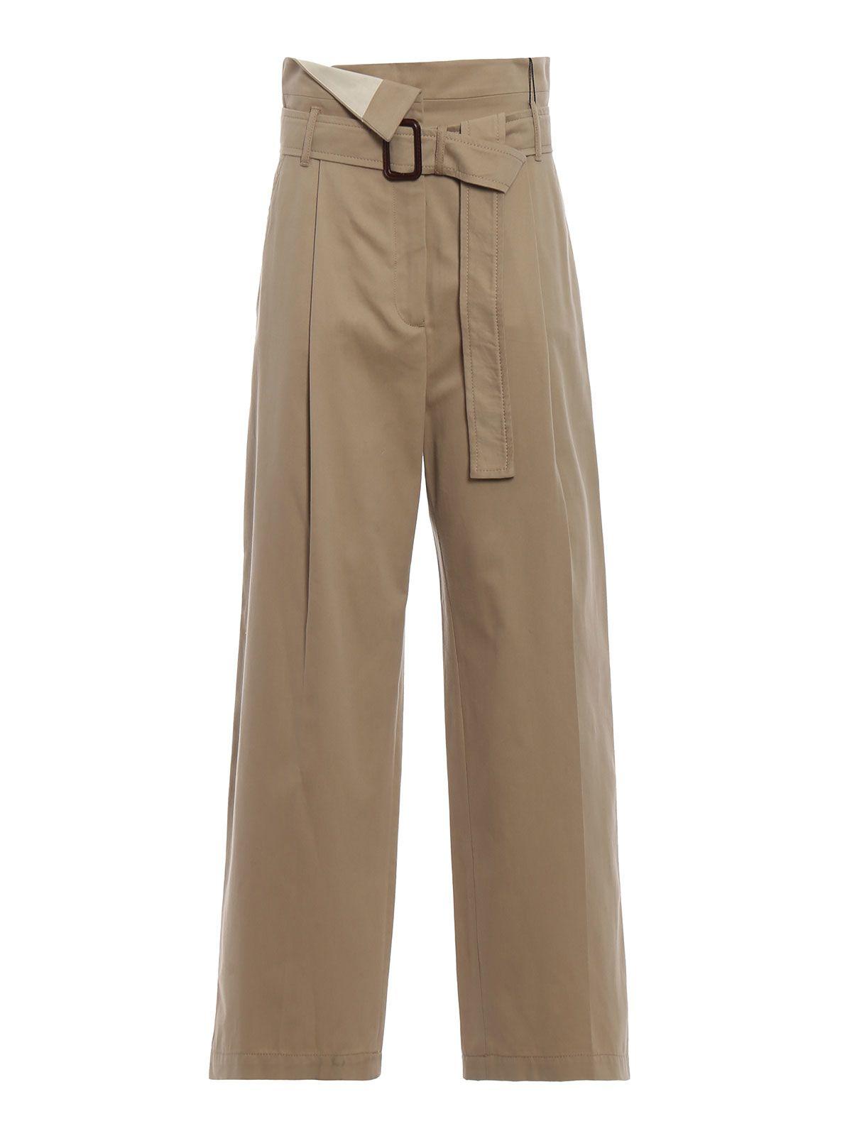 max mara - Ebro Beige Cotton Drill Wide Leg Trousers